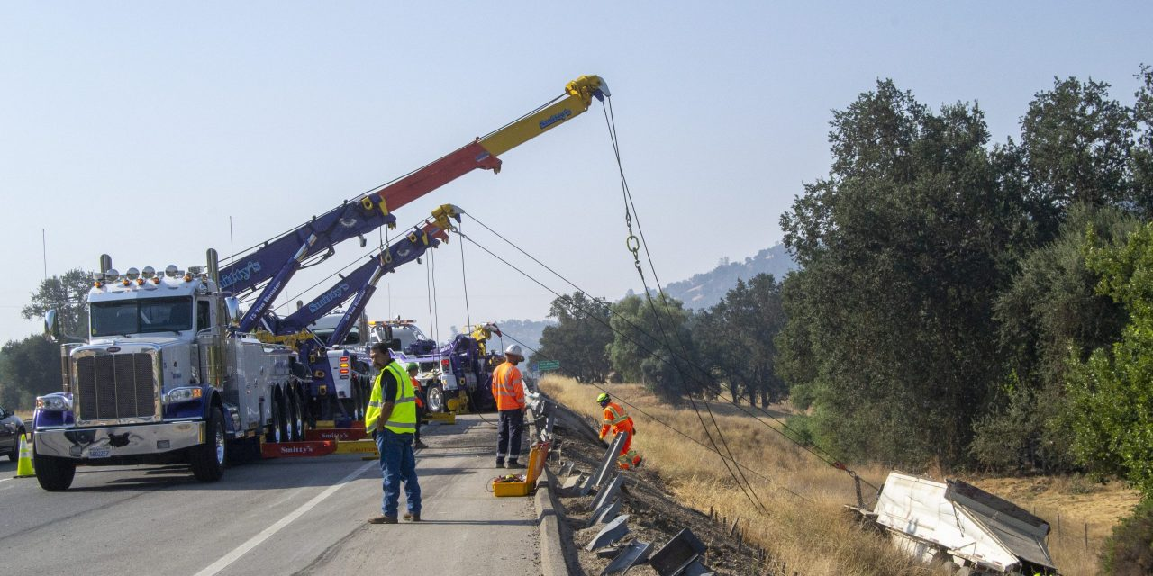Truck Goes Off Southbound Highway 101 Near Santa Barbara Road