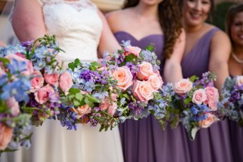 The brides bouquet was a lovely and feminine combination of pink, lavender and light blue.