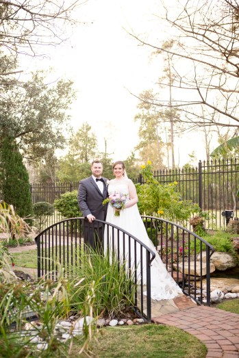 Bride and Groom Portrait session in the garden at the church.