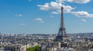 Afternoon photo of Paris skyline and Eiffel Tower from the top of the Arc of Triumph, France