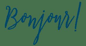 Bonjour written in blue script font