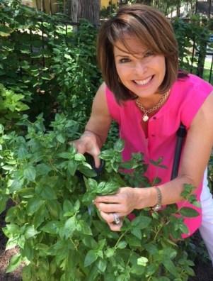 Lorie harvesting basil from her garden.