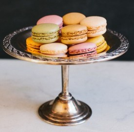 Silver compote with French Macarons.