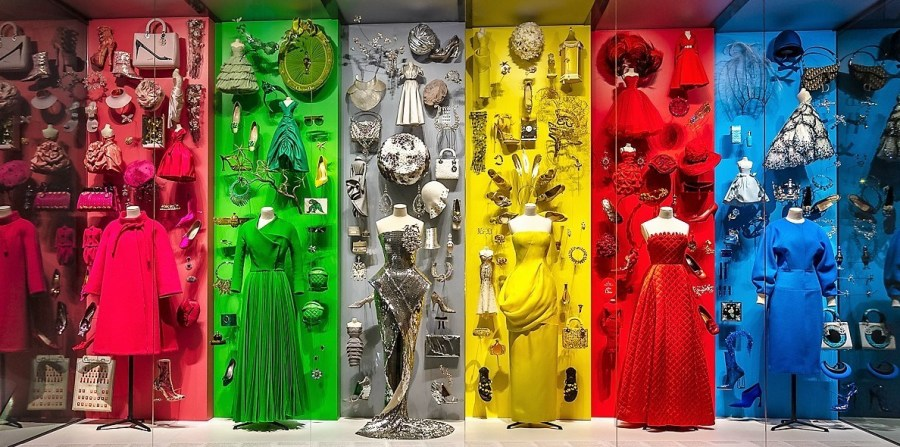 Rainbow windows at Dior exhibit at the DMA.