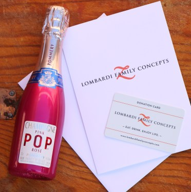 Lombardi gift cards and pop champagne.