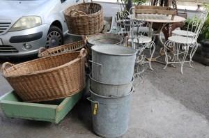 baskets and pails in the L'Isle-sur-la-Sorgue market.