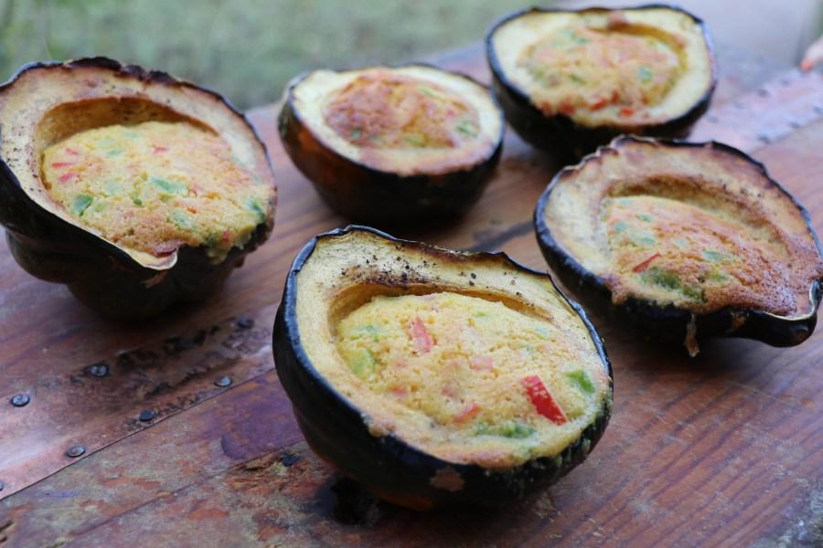 Cornbread stuffed acorn squash.