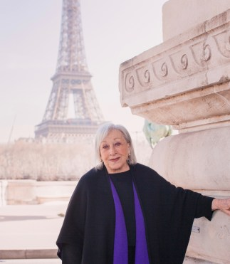 Audrey Friedman in front of the Eiffel tower.