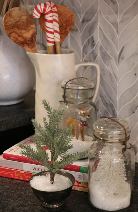 Christmas decoration in mason jars
