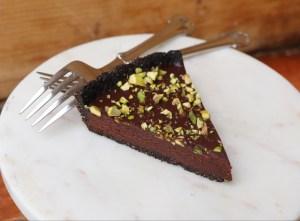 Slice of Chocolate Pistachio Tart