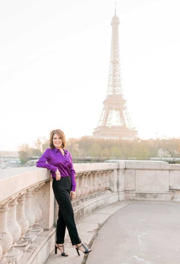 Lorie in front of Eiffel Tower
