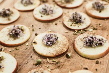 A throw back featuring apples and pistachios, Apple Crostini Appetizer