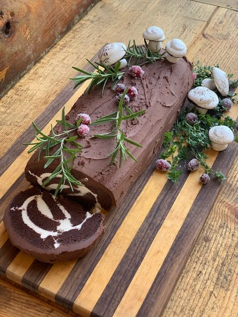 Bûche De Noël- Yule Log Cake with meringue mushrooms
