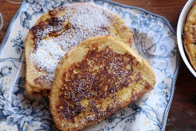 Pain Perdu or French Toast for New Year's Breakfast in Bed