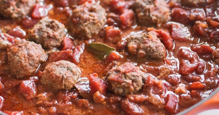 "Spanish Albondigas ""Meatballs"" with a Spiced Tomato Sauce"