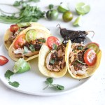 Pulled Chicken Guajillo Pepper Sauce Tacos