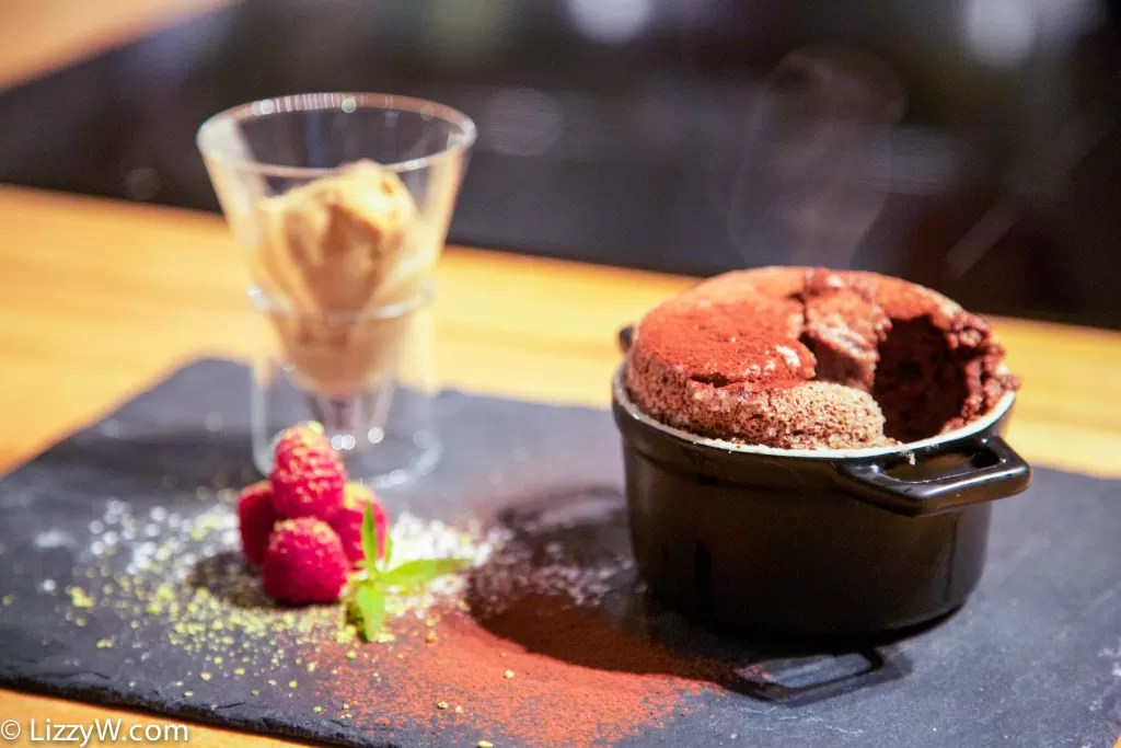 chocolate souffle - it didn't fall!