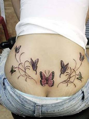 This tattoo is nice because it's almost perfectly symmetric with 7 butterflies