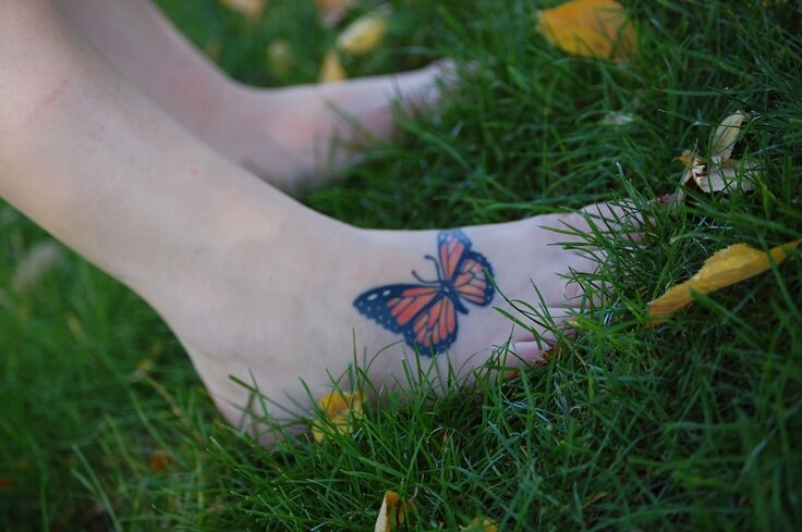 Foot butterfly tattoo designs