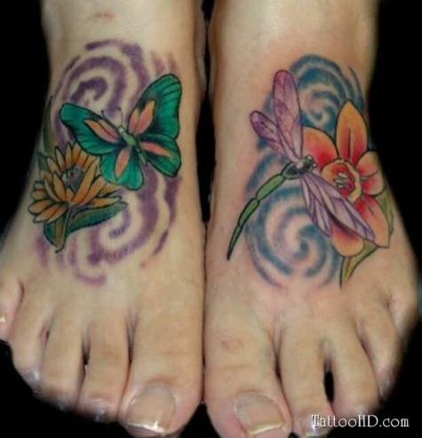 Foot butterfly tattoo designs 4