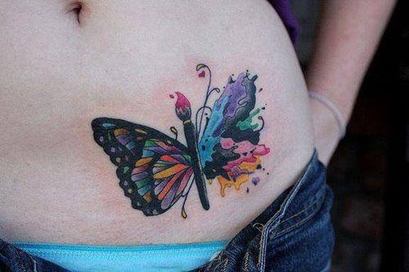 Belly butterfly tattoo designs 13