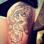 Rose Flowers And Girl Head Thigh Tattoo http://www.tattoostime.com/tattoos/thigh/