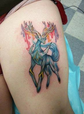 Amazing Xerneas Pokemon tattoo