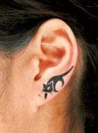 Cute Black cat tattoo on ear http://www.cuded.com/2014/05/55-incredible-ear-tattoos/