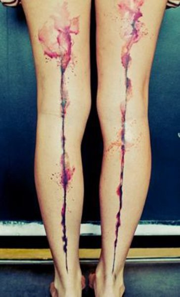 Watercolour tattoos on leg http://www.cuded.com/2014/01/50-incredible-leg-tattoos/