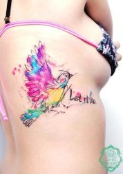 Amazing bird tattoo with quote: Let it be. https://pl.pinterest.com/pin/347621664968181176/