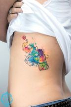 Cute colorful and playful elephant tattoo. https://pl.pinterest.com/pin/424534702353791126/