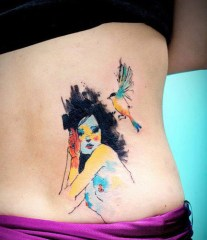 Cute watercolor sketch. http://www.tattoobite.com/new-watercolor-tattoos-for-girls-and-women/