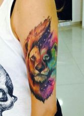 Epic watercolor lion tattoo. https://pl.pinterest.com/pin/142707881920364673/