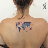 World map watercolor tattoo - perfect for travelers. Instagram / yelizozcan_tattooart. http://stayglam.com/life/51-watercolor-tattoo-ideas-for-women/