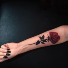 Classical red rose on inner arm side