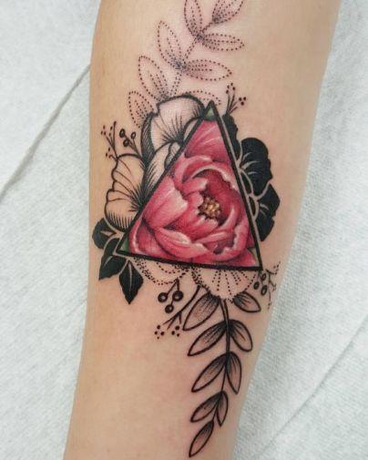 Geometrical rose tattoo