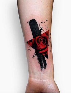 Modern tattoo red rose inside a triangle