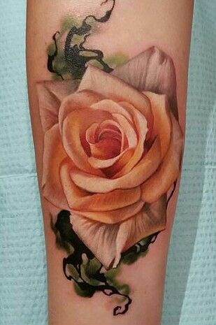 Peach rose tattoo