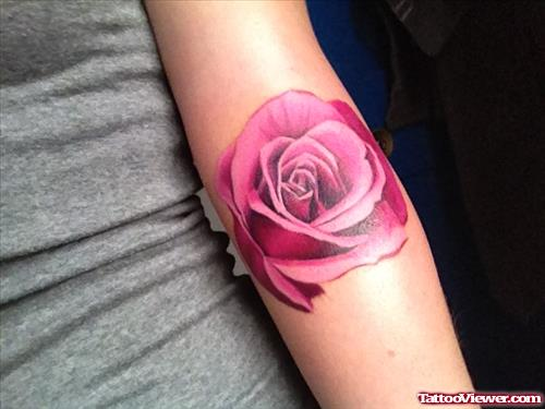 Pink Rose Tattoo On Arm