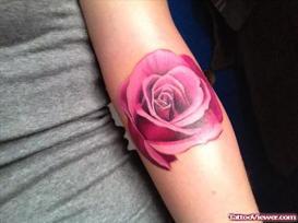 Pink Rose Tattoo On Arm