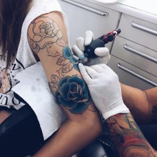 Unique Blue Rose Tattoo
