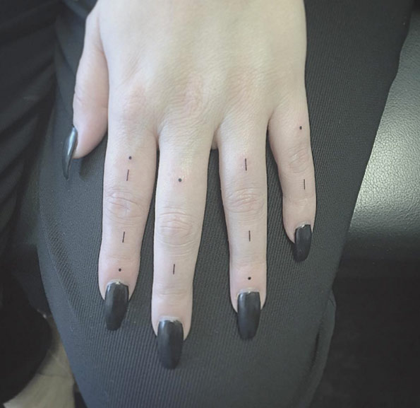 Finger dash and dots tattoos