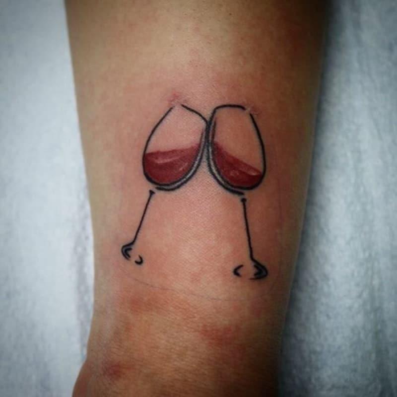 Forearm glass of wine tattoos ideas