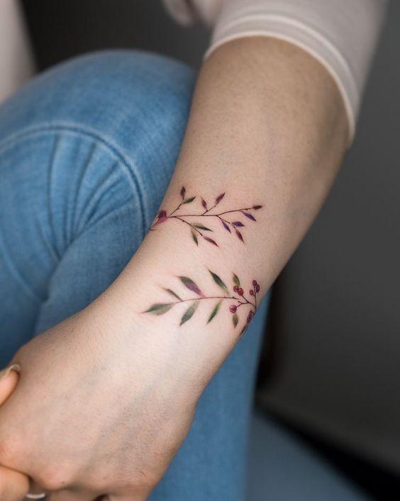 Nature leaf armband wrist tattoo design