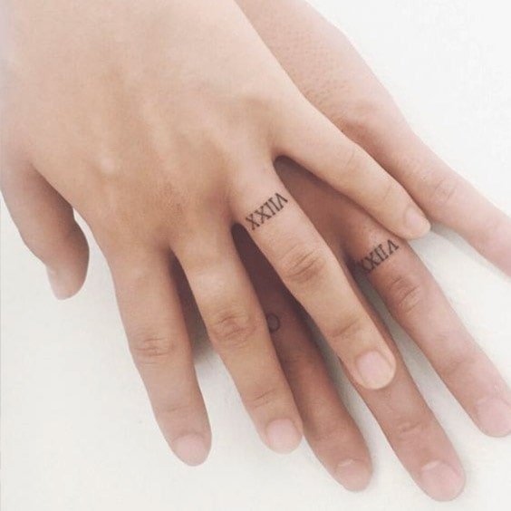 Numbers wedding ring tattoo ideas