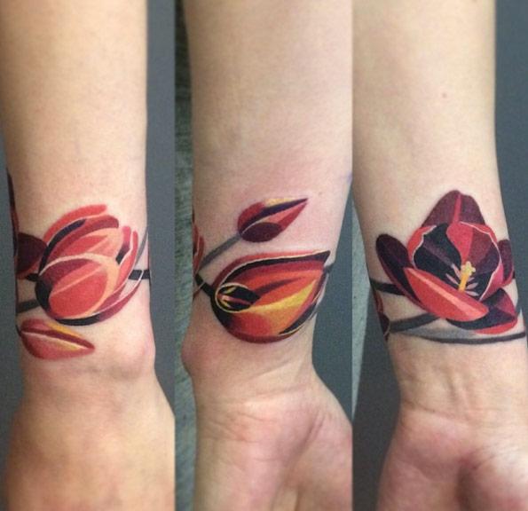Red flower tulip bracelet on wrist tattoo ideas