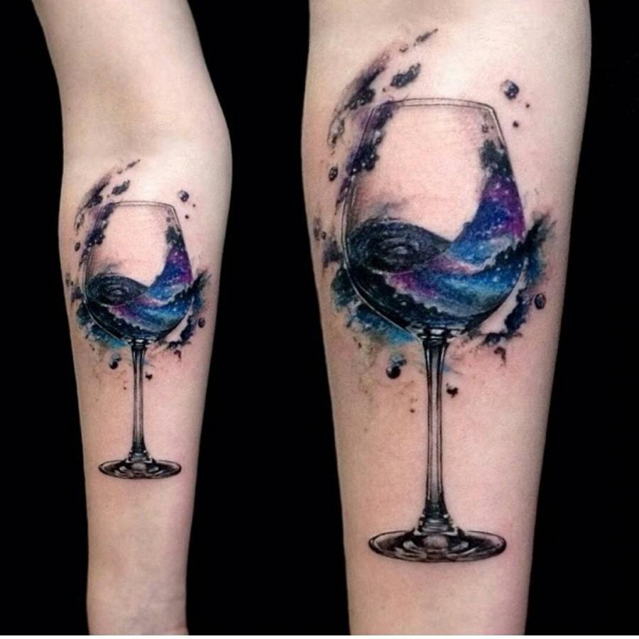Watercolor wine glass tattoo ideas for women