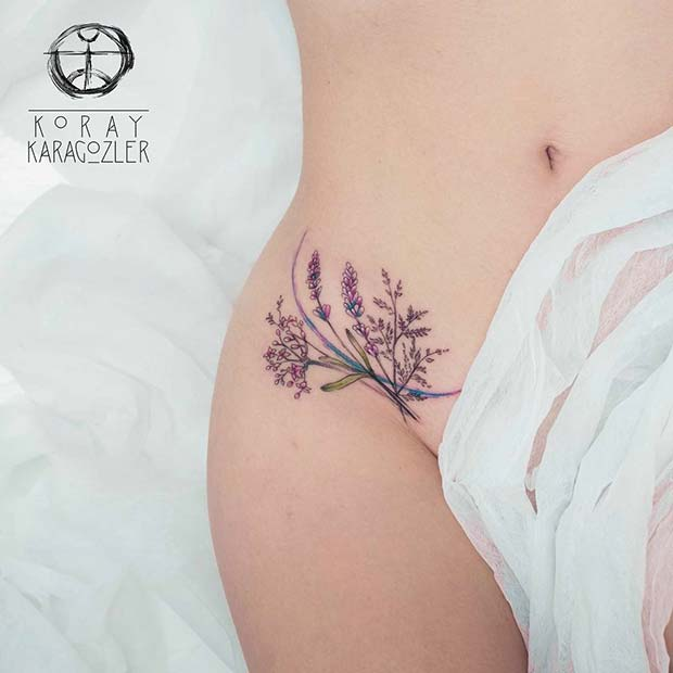 Cute flower lavender on thigh tattoo for women