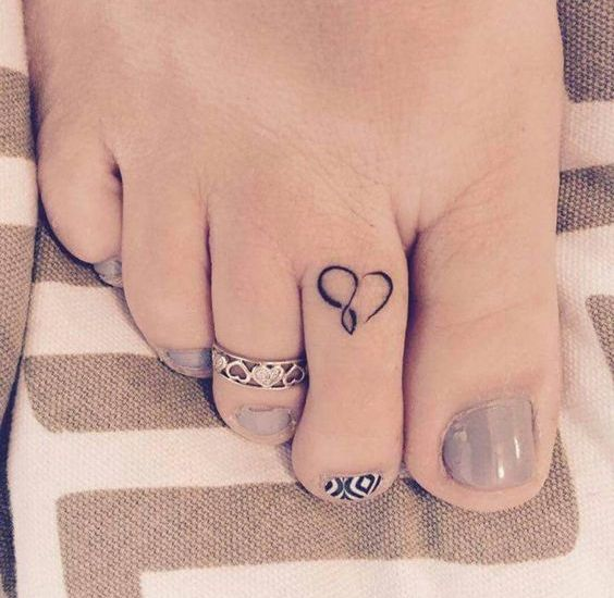 Cute heart toe tattoo for women