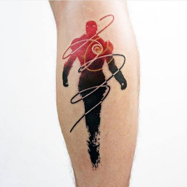 Iron man unique small leg tattoos